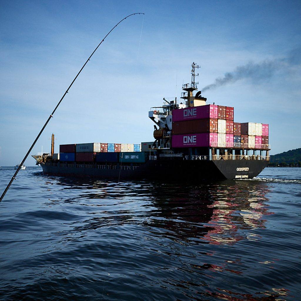 A fisherman catches a container ship